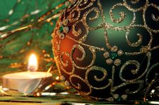 Christmas Candle And Ball Ornament Stock Image