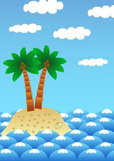 Free Lonely Island With Palm Trees Royalty Free Stock Images - 3682829