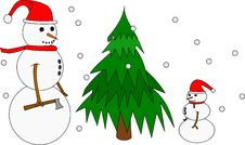Free Snow-Family Cutting Tree Illustration Stock Images - 3684334