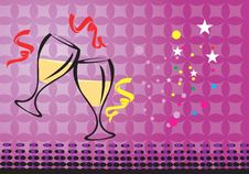Wine Glasses With Ribbon Royalty Free Stock Images