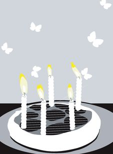 Birthday Cakes With Candles Stock Images