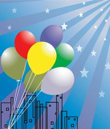 Free Balloons And Stars Royalty Free Stock Image - 3686916