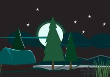 Free Fir Trees With Stars Royalty Free Stock Photo - 3686985
