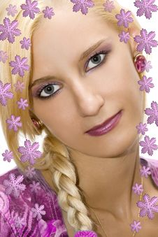 Blond Girl With Snowflakes Royalty Free Stock Images