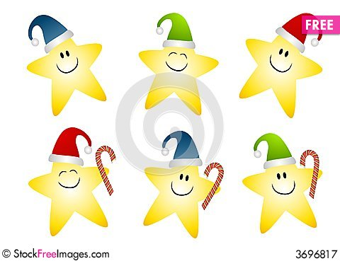 Smiling Gold Christmas Stars Clip Art - Free Stock Images ...