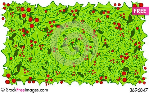 Free Holly Leaves And Berries Background Royalty Free Stock Photography - 3696847