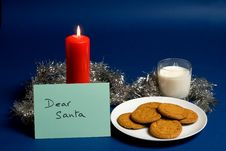 Free Dear Santa Note, Milk And Biscuit Royalty Free Stock Photos - 3690358