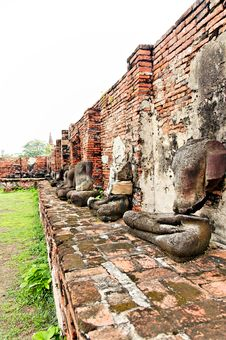 Free Ancient Buddhist Temple Ruins In Ayuttaya, Thailan Stock Photos - 3690653