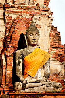 Free Anciant Buddhist Temple Ruins In Ayuttaya, Thailan Stock Photos - 3690693