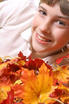 Free Young Boy In Fall Leaves Vertical Royalty Free Stock Images - 3693049