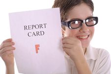 Free Happy Nerd With Report Card Stock Photography - 3693322