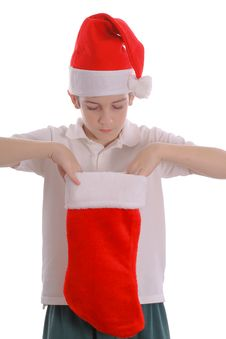 Free Young Boy Looking Into Stocking Stock Photos - 3693373