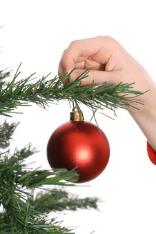 Childs Hand Hanging Ornament Stock Photos