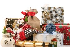 Snowman And Gifts, Wraps Stock Photography