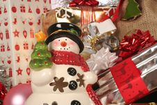 Snowman And Gifts, Wraps Stock Photos