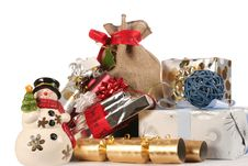 Snowman And Gifts, Wraps Stock Images