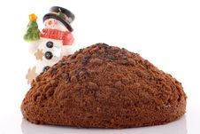 Free Cake On White Backgroundwith Snowman Royalty Free Stock Photography - 3693697