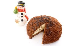 Free Cake On White Background With Snowman Stock Images - 3693704