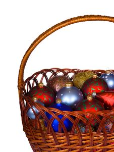 Free Basket With Christmas Balls Royalty Free Stock Image - 3693706