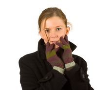 Woman With Gloves And Winter Clothes, Cold, Winter Stock Photo