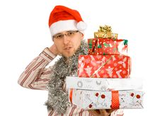 Free Santa Holding Pile Of Gifts, Presents Stock Photography - 3693932