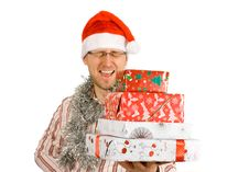 Free Santa Holding Pile Of Gifts, Presents Royalty Free Stock Photo - 3693935