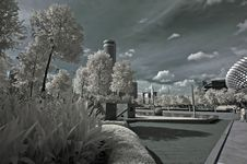 Infrared Photo – Tree, Building And Cloud Stock Photography
