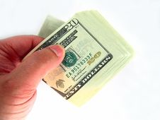 Free US Twenty Dollar Bills & Hand Royalty Free Stock Images - 3695109