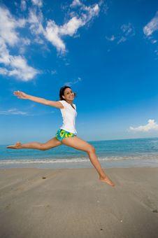 Free Happy Jump At The Beach Royalty Free Stock Photos - 3695928