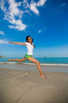 Free Happy Jump At The Beach Royalty Free Stock Photo - 3695935