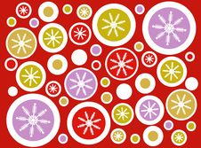 Red Retro Snowflake Circles Background Royalty Free Stock Photos