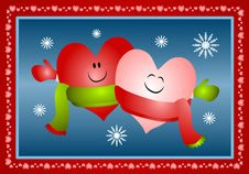 Hugging Xmas Hearts Wearing Scarves Royalty Free Stock Photo