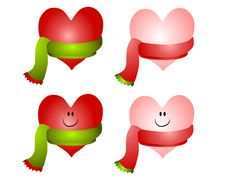 Christmas Hearts Wearing Scarves Royalty Free Stock Images