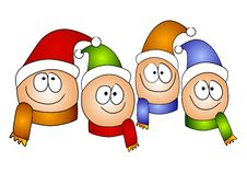 Free Happy Cartoonish Kids Wearing Hats And Scarves Royalty Free Stock Image - 3696856
