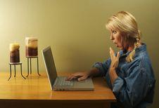 Woman Using Laptop Series Royalty Free Stock Photo