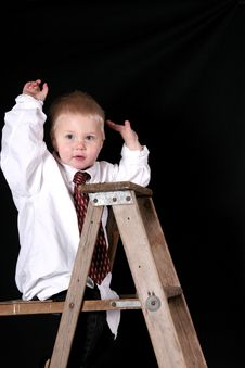 Free Little Boy On Top Of Ladder Royalty Free Stock Image - 3699536
