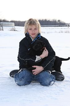 Free Young Boy And His Puppy Stock Images - 3699644