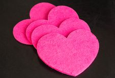 Free A Row From Pink Hearts Against A Dark Background Royalty Free Stock Photos - 36902298
