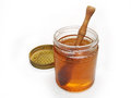Free HONEY GLASS JAR WITH WOODEN DRIZZLER Stock Photos - 36924363