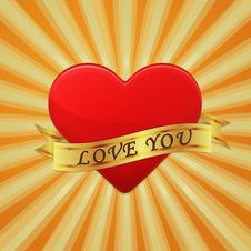 Free Heart With Ribbon And Phrase Love You. Stock Image - 36951741