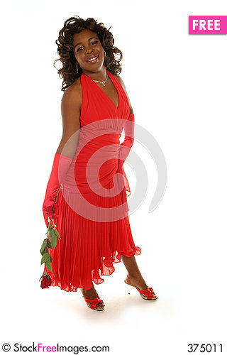 Free Red Rose And Red Dress Stock Image - 375011