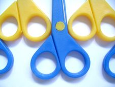 Free Blue & Yellow Scissors (Closeup) Stock Image - 376971