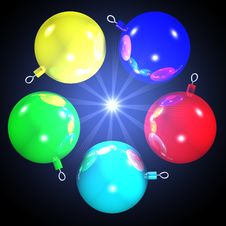 Free 5 XMAS BALLS 3- ALPHA CHANNEL Stock Photo - 378420