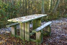 Free Redundant Picnic Table In Winter Stock Images - 378444