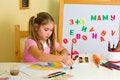 Free Schoolgirl Has Drawn A Rainbow Royalty Free Stock Photo - 3700915