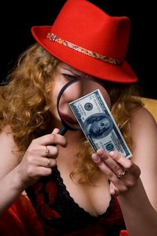 Free The Beautiful Woman Checks Money Stock Photography - 3700222