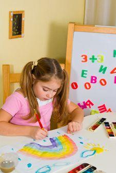 Free Schoolgirl Has Drawn A Rainbow Royalty Free Stock Photos - 3700958
