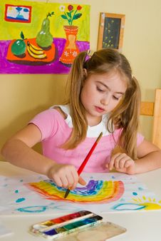 Free Schoolgirl Has Drawn A Rainbow Royalty Free Stock Images - 3701119