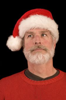 Free Pleasant Man In Santa Hat Stock Photography - 3701222