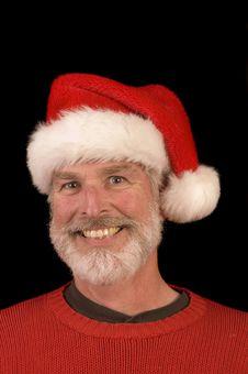 Free Pleasant Man In Santa Hat Royalty Free Stock Image - 3701236
